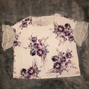 Maurices Floral Blouse White Bell Sleeve Size 1